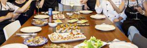 Gedeckter Tisch, Ergebnis des Tapaskochkurses auf Mallorca